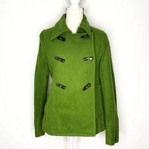 Old Navy Coat Size M Wool Blend Green Peacoat